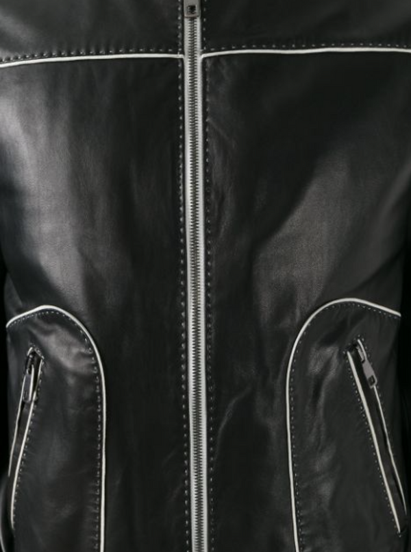 Dolce & Gabbana Contrast Trim Leather Jacket