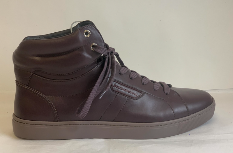 Dolce & Gabbana Maroon Hi-Top Sneakers - ACCESSX