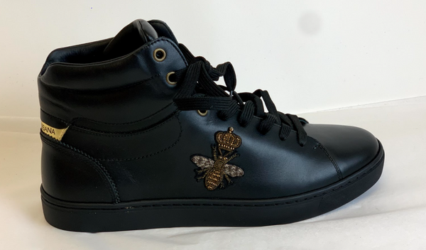 Dolce & Gabbana Crown Bumblebee Hi-Top Sneakers in Black - ACCESSX