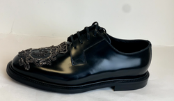 Dolce & Gabbana Crown Leather Drivers in Black - ACCESSX