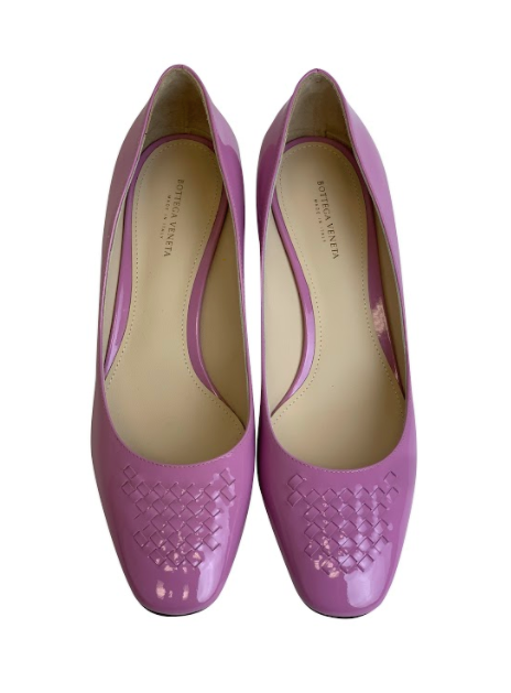 Bottega Veneta Pink Cherbourg Patent Leather Pumps - ACCESSX