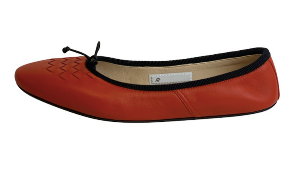 Bottega Veneta Women's Orange and Black Ballet Flats - ACCESSX
