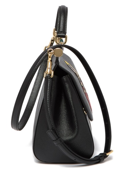 Dolce and Gabbana Womens Black Leather Printed Satchel - ACCESSX