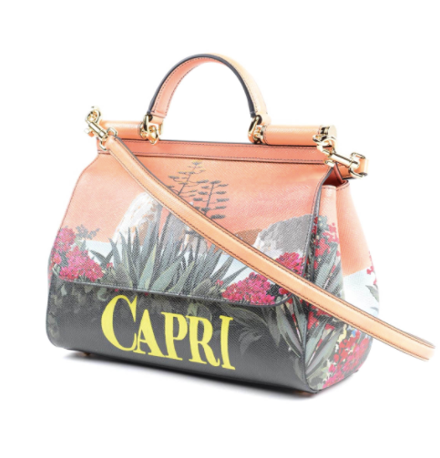 Dolce and Gabbana Womens Sicily Capri Printed Leather Bag - ACCESSX