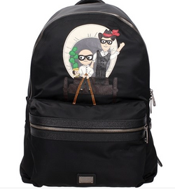 Dolce and Gabbana Mens Navy Designer Patch Volcano Backpack - ACCESSX