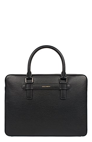 Dolce and Gabbana Mens Black Leather Briefcase - ACCESSX