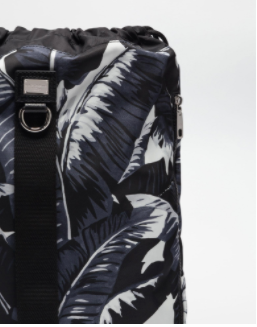 Dolce and Gabbana Mens Drawstring Backpack in Banana Leaves Print - ACCESSX