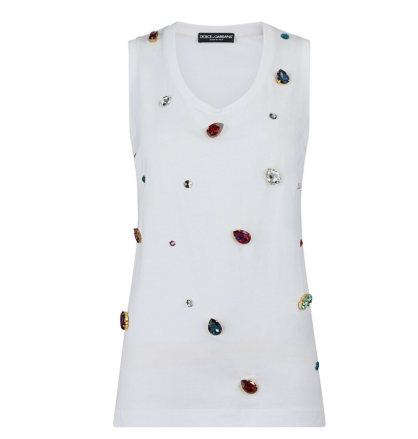 Dolce and Gabbana Womens White Studded Sleeveless Shirt - ACCESSX