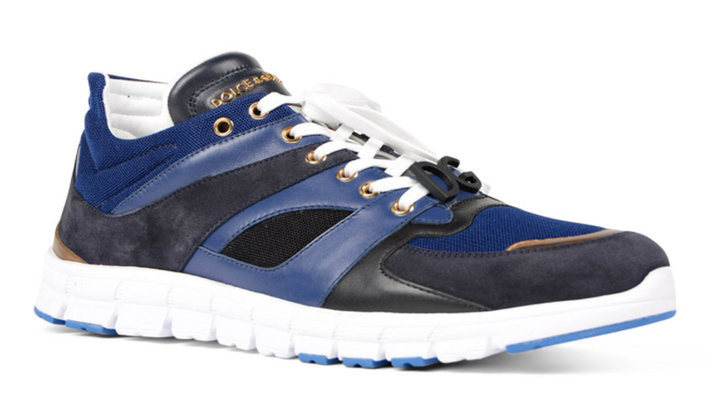 Dolce & Gabbana Mens Blue Jamaica Running Lace Up Sneakers - ACCESSX