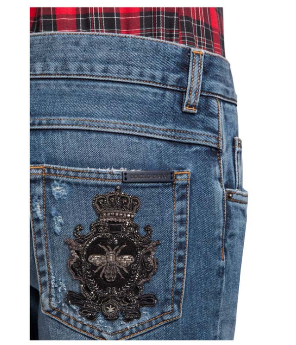 Dolce & Gabbana Distressed Denim Regular Fit Jeans With Bee Crown Patch - ACCESSX