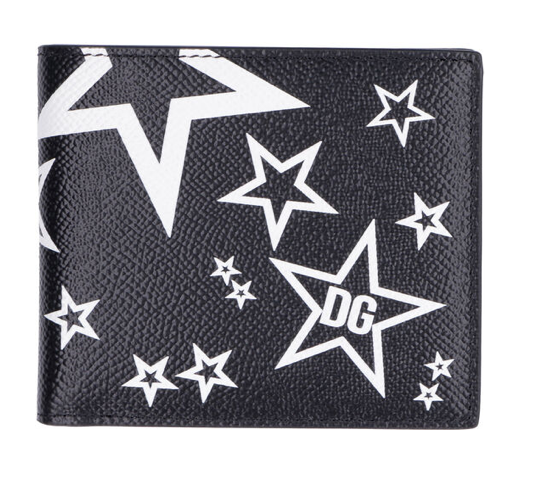 Dolce and Gabbana Mens Black Printed Leather Wallet - ACCESSX