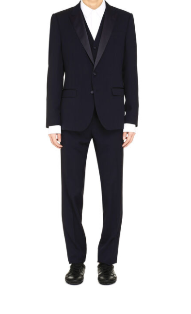 Dolce and Gabbana Mens Martini Three-Piece Wool Suit - ACCESSX