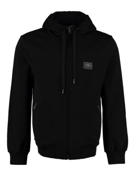 Dolce and Gabbana Mens Black Cotton Full Zip Hoodie - ACCESSX