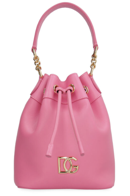 Dolce and Gabbana Womens Pink Leather Bucket Bag - ACCESSX