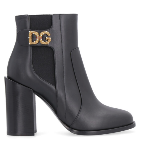 Dolce and Gabbana Womens Black and Gold Rodeo Leather Ankle Boots - ACCESSX