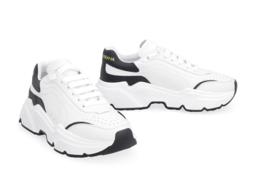 Dolce and Gabbana Womens Black and White Leather Sneakers - ACCESSX