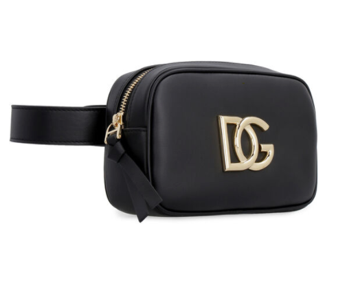 Dolce and Gabbana Womens Black Leather Belt Bag - ACCESSX