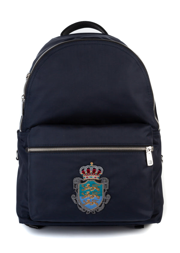 Dolce & Gabbana Mens Navy Embroidered Crown Vulcano Backpack - ACCESSX