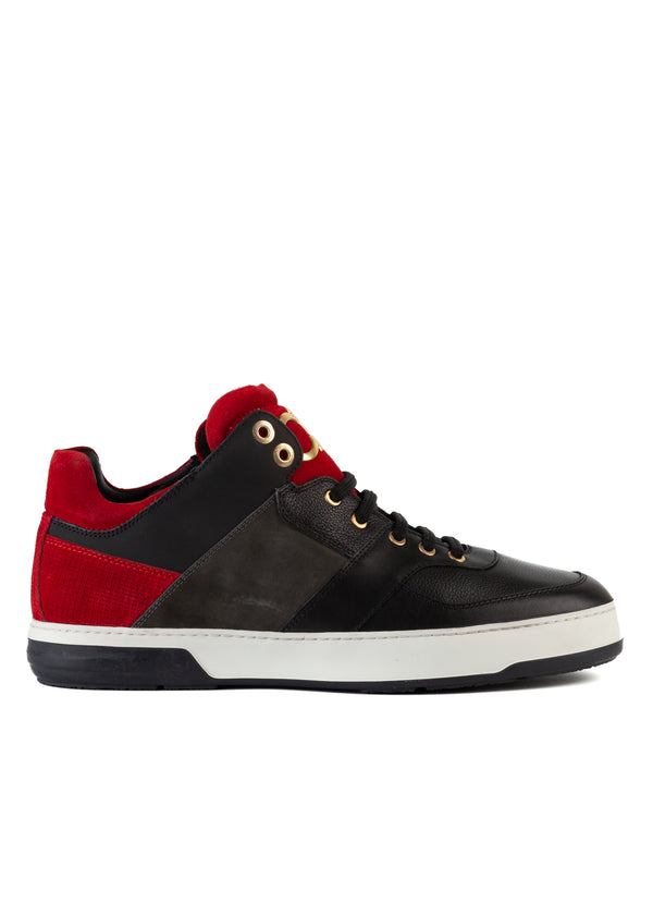 Salvatore Ferragamo Mens Black Leather Monroe Sneakers - Tribeca Fashion House