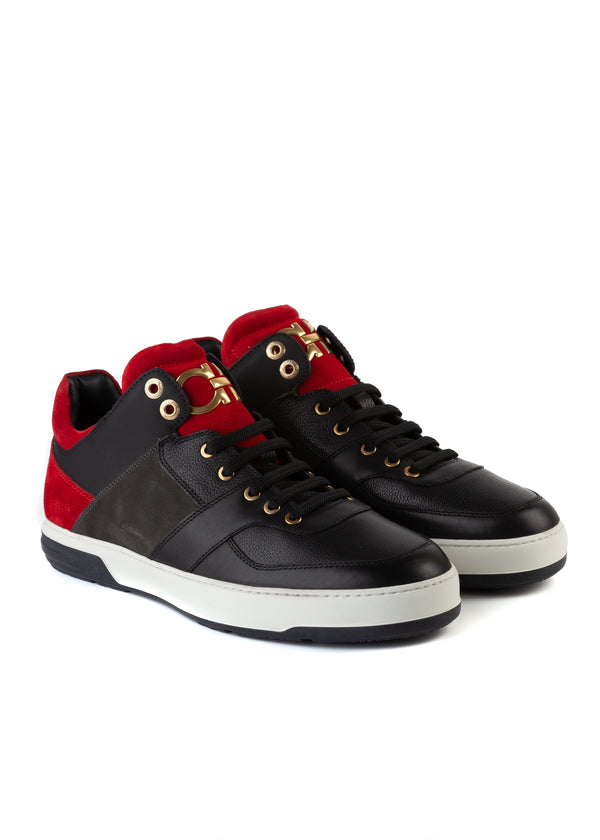 Salvatore Ferragamo Mens Black Leather Monroe Sneakers - ACCESSX