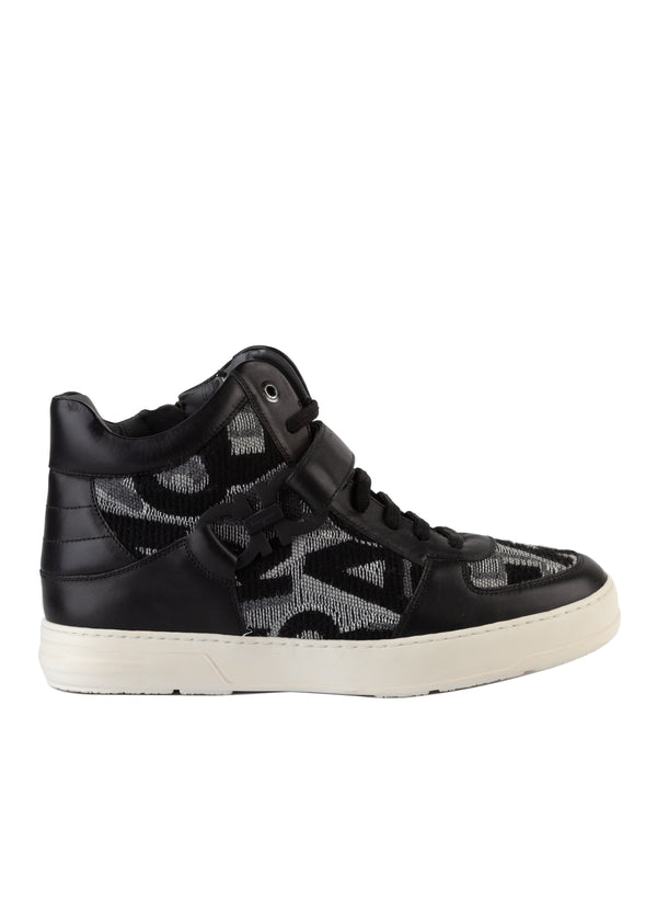 Salvatore Ferragamo Mens Nayon Double Gancini High Top Sneakers - Tribeca Fashion House