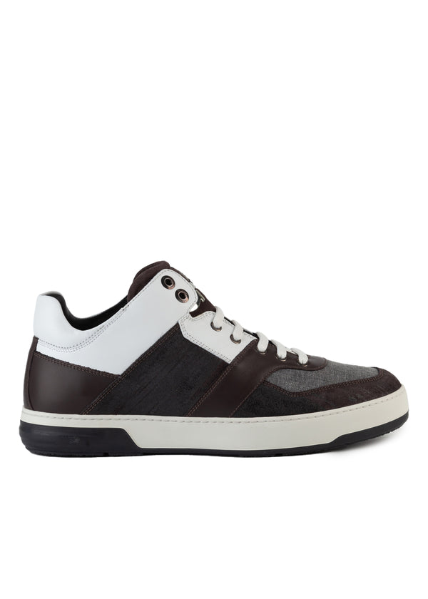 Salvatore Ferragamo Mens Grey Leather Monroe Sneakers - Tribeca Fashion House