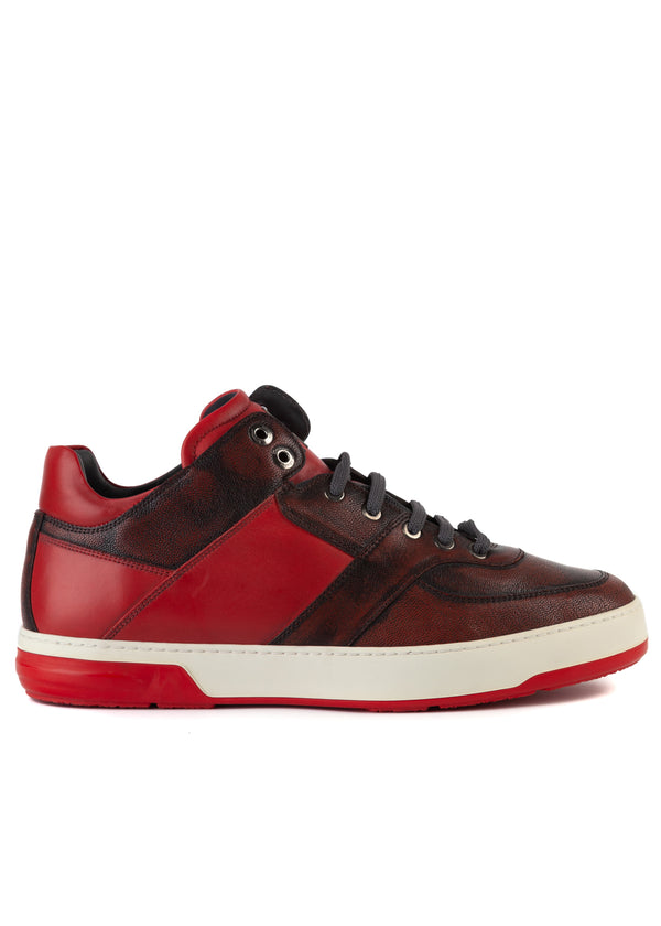 Salvatore Ferragamo Mens Red Distressed Monroe Sneakers - Tribeca Fashion House