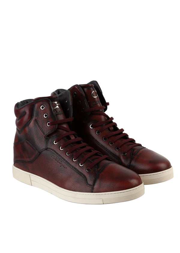 Salvatore Ferragamo Mens Red Distressed Stephen High-Top Sneakers - Tribeca Fashion House