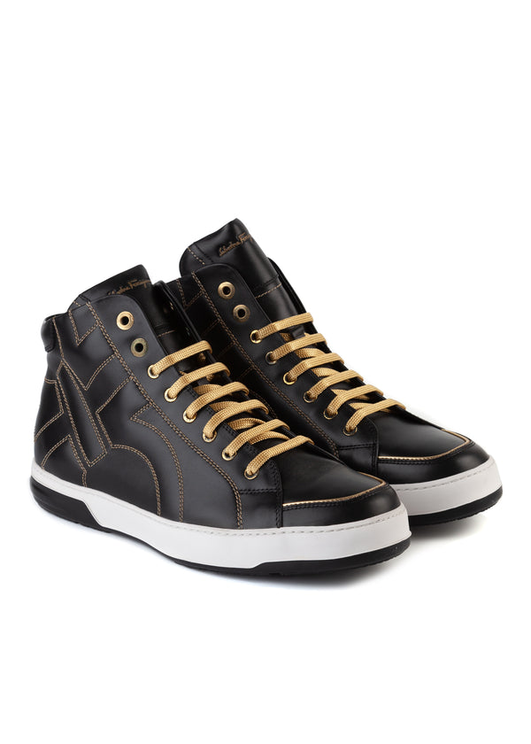 Salvatore Ferragamo Mens Nicky Stitched Gancini High-Top Sneakers - Tribeca Fashion House