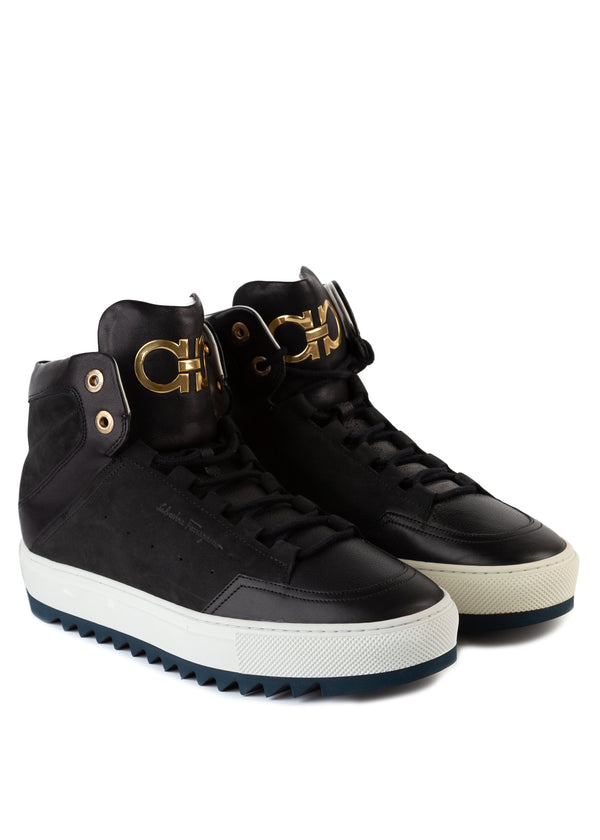 Salvatore Ferragamo Mens Laramie Gancini High-Top Sneakers - Tribeca Fashion House