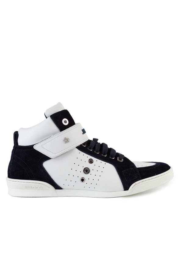 Jimmy Choo Mens White & Dark Ocean Lewis Sneakers - ACCESSX
