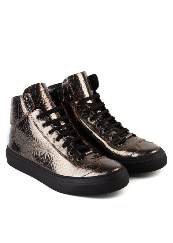 Jimmy Choo Mens Steel Argyle High-Top Sneakers - ACCESSX