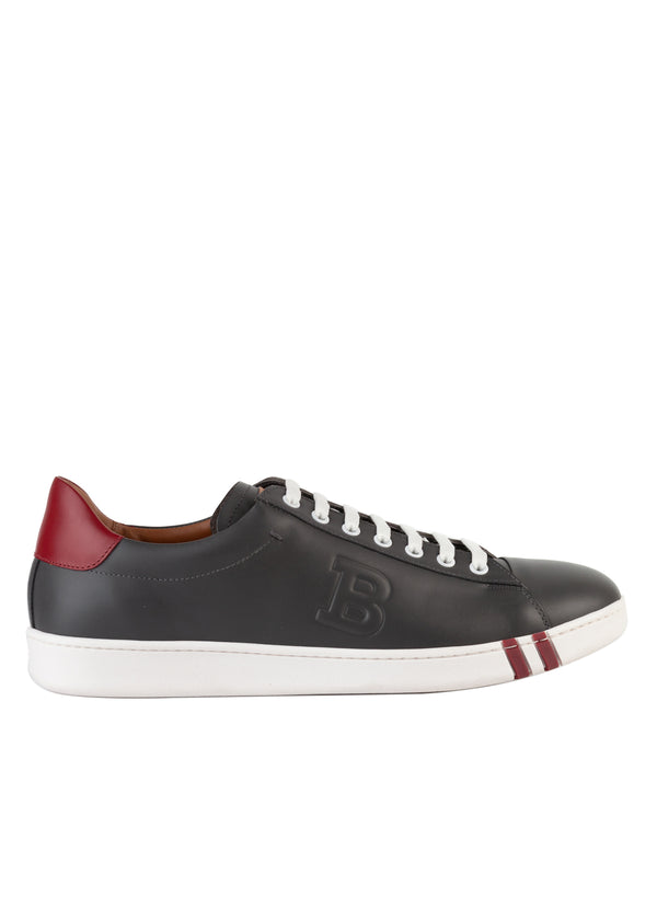 Bally Mens Grey Asher Leather Sneakers - ACCESSX
