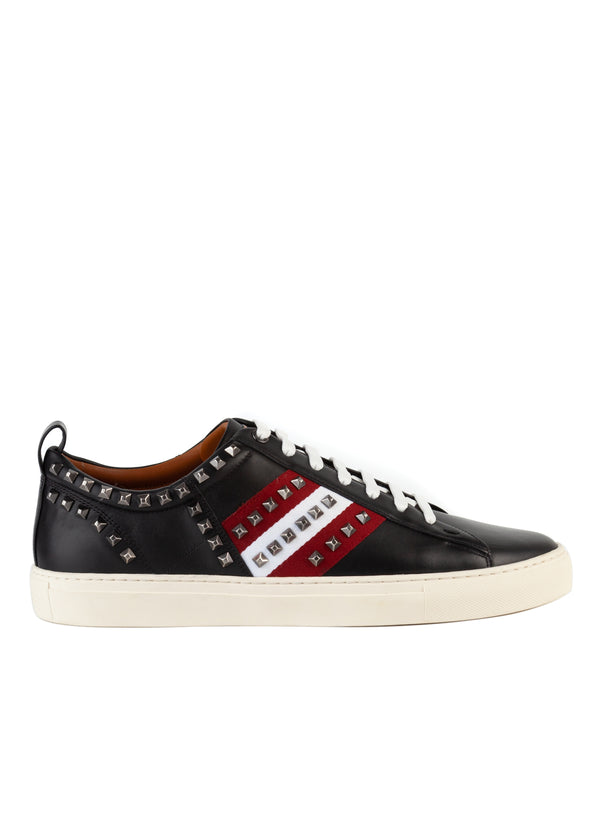 Bally Mens Black Studded Helvio Leather Sneakers - ACCESSX
