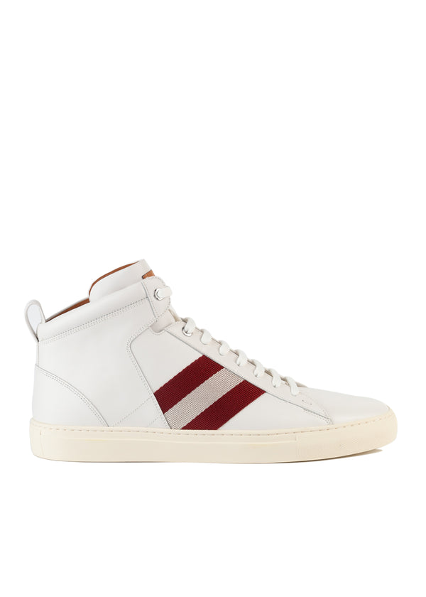 Bally Mens White Hedern Leather High-Top Sneakers - ACCESSX