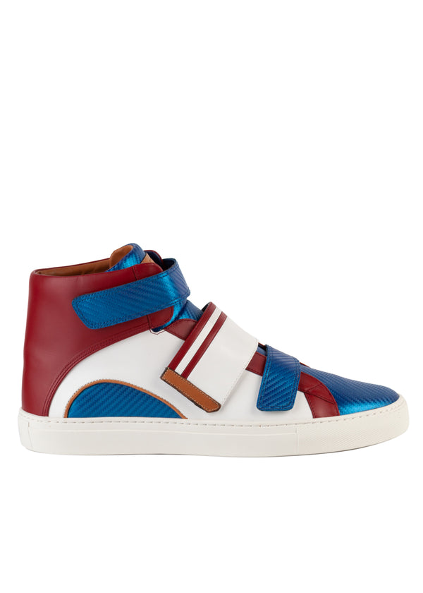 Bally Mens White Herrick Leather High-Top Sneakers - ACCESSX
