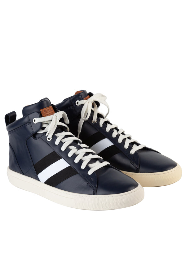 Bally Mens Navy Hedern Leather High-Top Sneakers - ACCESSX