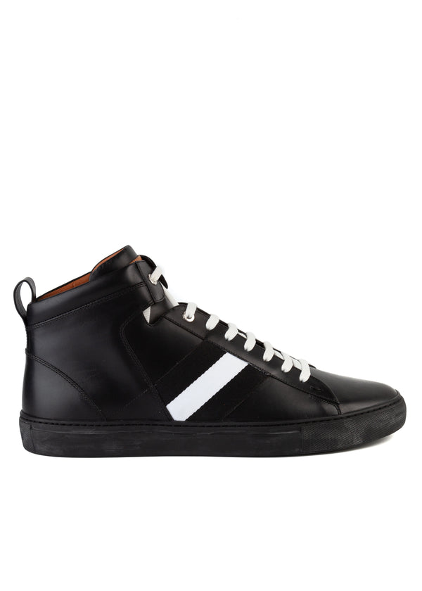 Bally Mens Black Hedern Leather High-Top Sneakers - ACCESSX