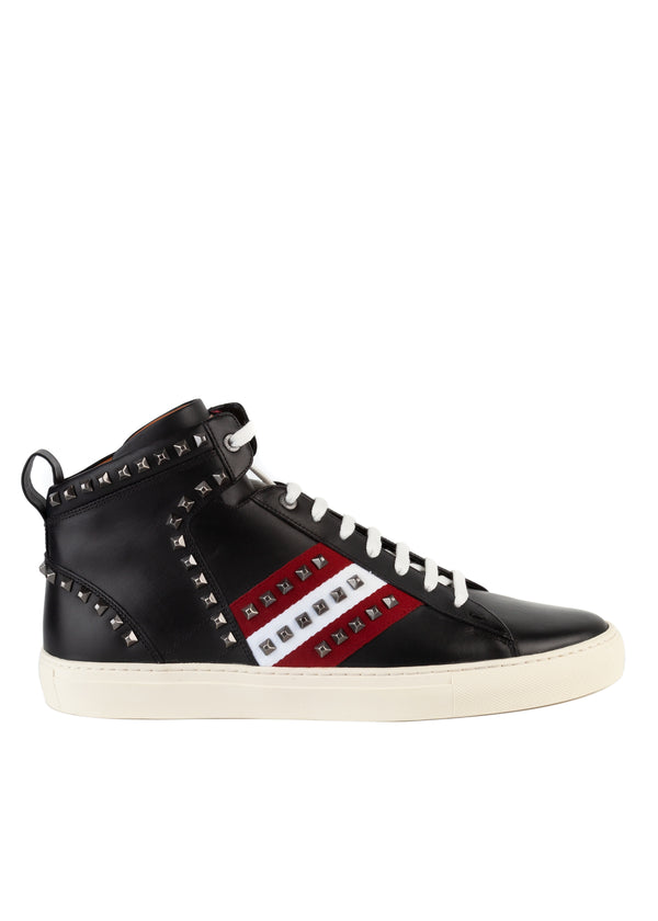 Bally Mens Black Studded Hedern Leather High-Top Sneakers - ACCESSX