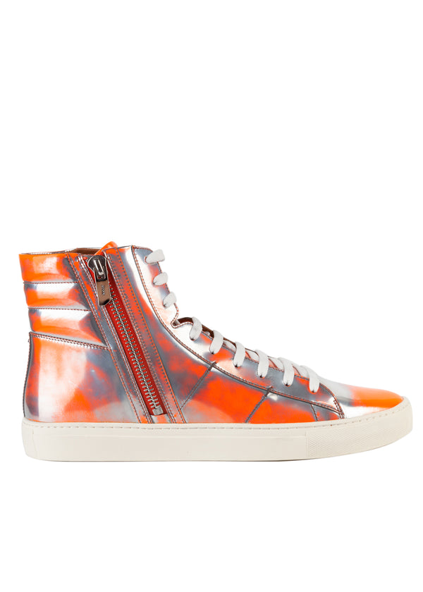Bally Mens Florescent Orange Hensel Leather High-Top Sneakers - Tribeca Fashion House