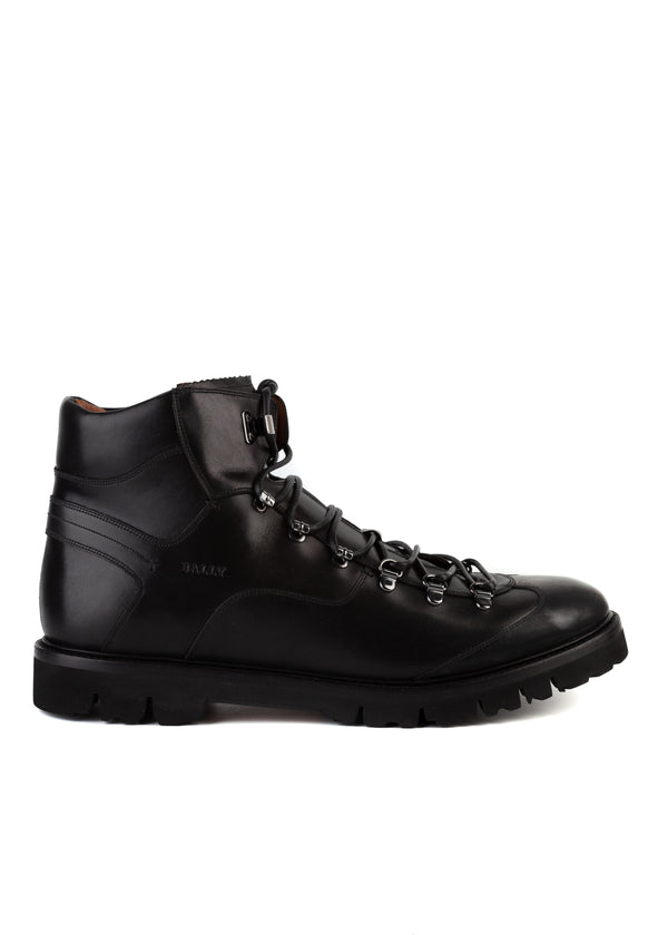 Bally Mens Black Charls Leather Hiking Boots - Tribeca Fashion House