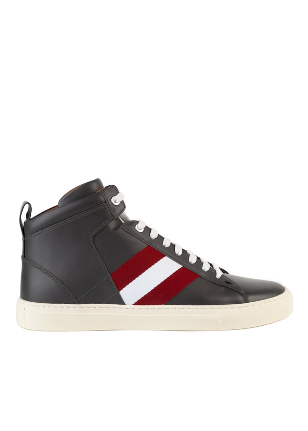 Bally Mens Dark Grey Hedern Leather High-Top Sneakers - ACCESSX