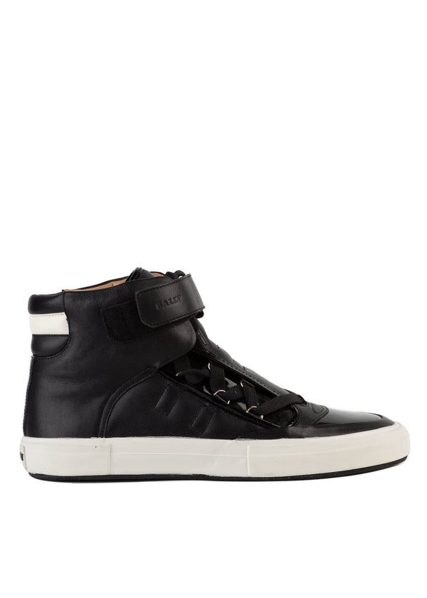 Bally Mens Black Eartly High-Top Leather Sneakers - ACCESSX