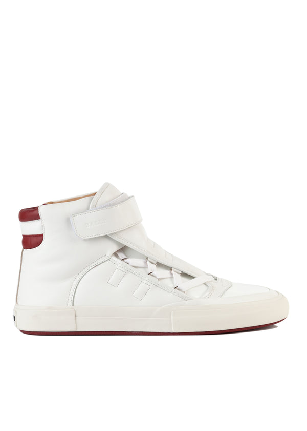 Bally Mens White Eartly High-Top Leather Sneakers - Tribeca Fashion House