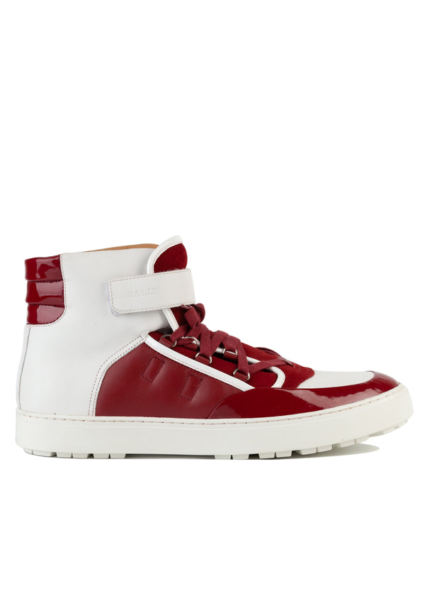 Bally Mens White & Red Osman High-Top Leather Sneakers - ACCESSX