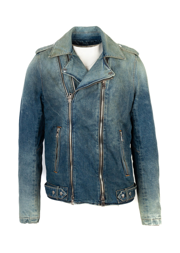Balmain Mens Blue Denim Biker Jacket - ACCESSX