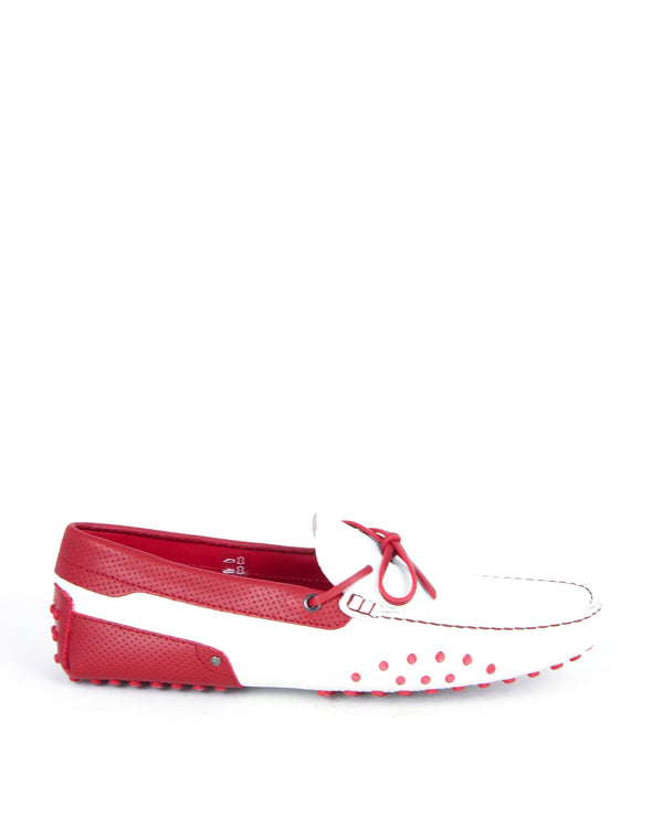 Tod's Mens Laccetto City Gommino Leather Moccasins In Red & White - ACCESSX