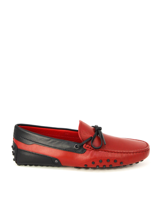 Tod's Mens Laccetto City Gommino Leather Moccasins in Red & Black - ACCESSX