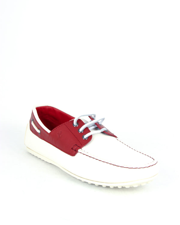 Tod's Men's City Gommino Laced Leather Moccasins in Red & White - ACCESSX