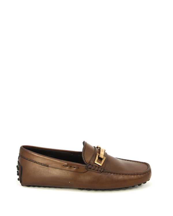 Tod's Mens Leather Moccasin Loafers in Brown With Gold Plate Logo - ACCESSX